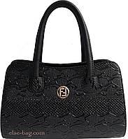 Женская сумка в виде ракушки черный крокодил