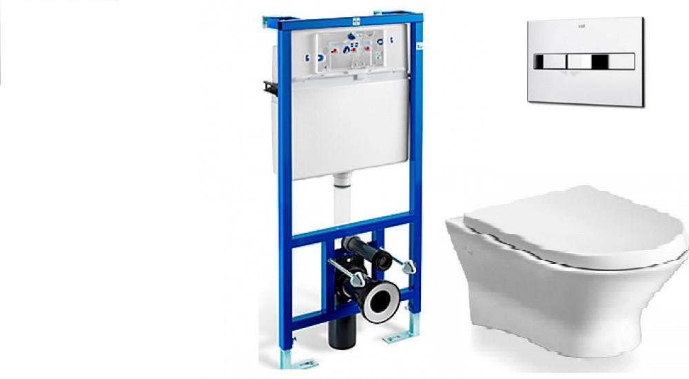ROCA Комплект: NEXO Clean Rim унитаз подвесной, PRO инсталяция для унитаза, PRO кнопка, сиденье твердое slow-closing - CLEVER-PLITKA.COM.UA в Киеве