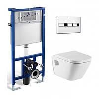 ROCA Комплект: GAP Clean Rim унитаз подвесной, PRO инсталяция для унитаза, кнопка, сиденье твердое slow-closing