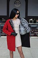Оригинальное двустороннее пальто из альпаки + чернобурка Украинского производства, фото 1