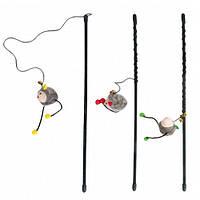 КАРЛИ-ФЛАМИНГО игрушка для кошек, удочка дразнилка с мышкой, 47см