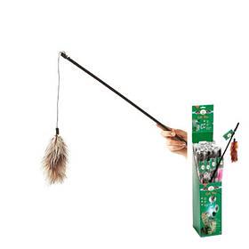 КАРЛИ-ФЛАМИНГО игрушка дразнилка для кошек, удочка с натуральными перьями боа, 60 см