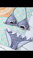 Купальник раздельный бикини с принтом акула. Код035