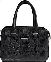 Женская классическая сумка с вставками по бокам черный крокодил