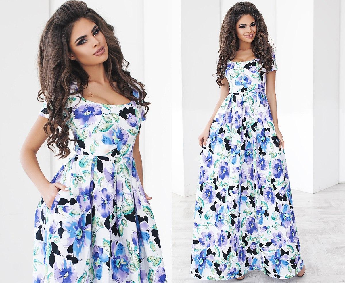 cbde60a36fd Длинное летнее платье в цветочек