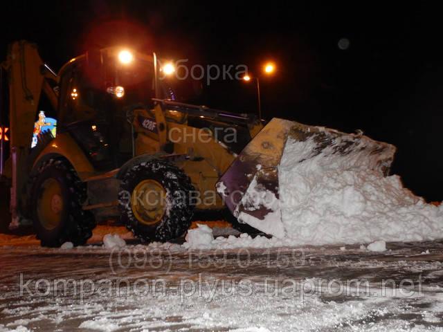 Уборка снега ночью