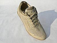 Кожаные мужские кроссовки Columbia перфорация беж.