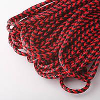 Шнур для изготовления украшений плетенка красно черный d-4,5мм за 1метр