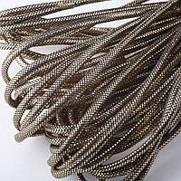 Шнур для изготовления украшений золотистый на черном металик d-4,5мм за 1метр