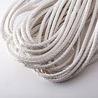 """Шнур для изготовления украшений белый с серебром фактурная """"кожа змеи""""  d-4,5мм за 1метр"""