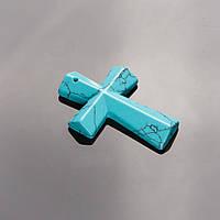 Кулон Крест каменный Бирюза (пресс.)  4,5х3см
