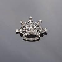 """Брошь Корона 3*4см серебристая в белых кристаллах """"маркизах"""""""