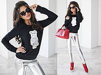 """Стильный молодежный женский костюм-двойка """"Мишка"""" с кожаными лосинами (2 цвета)"""
