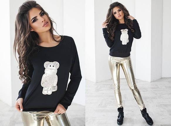 """Стильный молодежный женский костюм-двойка """"Мишка"""" с кожаными лосинами, фото 2"""
