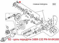 Цепь передачи  16BX-132 PN-M-84168. Ланцюг  передачі 16BX-132 PN-M-84168. Запчасти к FAMAROL
