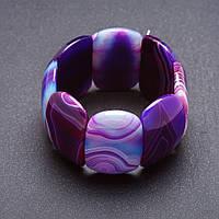 """Браслет Элит Агат фиолетовая гамма на резинке закругленное """"звено"""" 4х2,6см"""