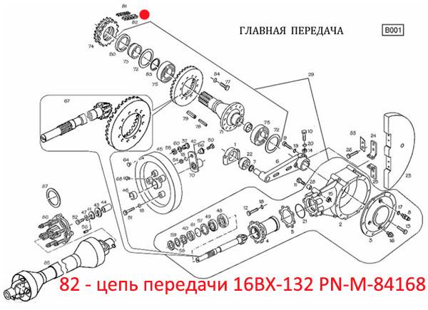 Цепь передачи 16BX-132 PN-M-84168