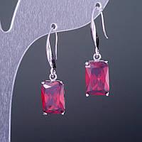 """Серьги с кристаллами """"Красные"""" 1,3х0,8см"""