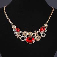 Колье на цепочке Овалы  с красными кристаллами L-48см Голд