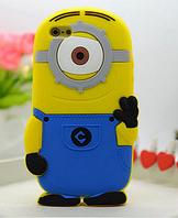 Силиконовый чехол Миньон голубой с одним глазами  на iphone 5/5S