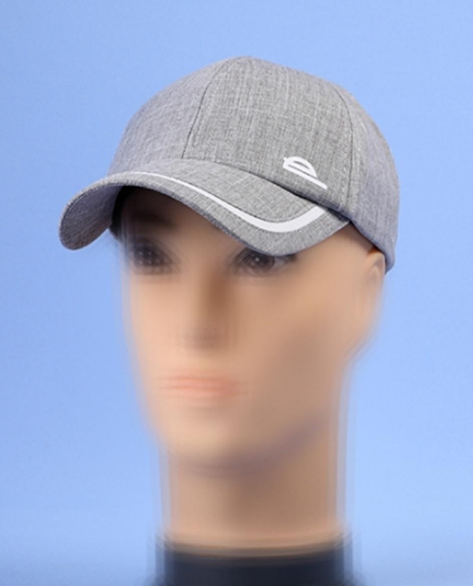 Мужская  бейсболка хлопковая серого цвета  56-57-58-59