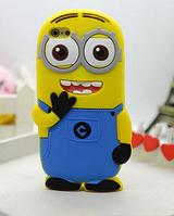 Силиконовый чехол голубой Миньон с двумя глазами для iphone 5/5S