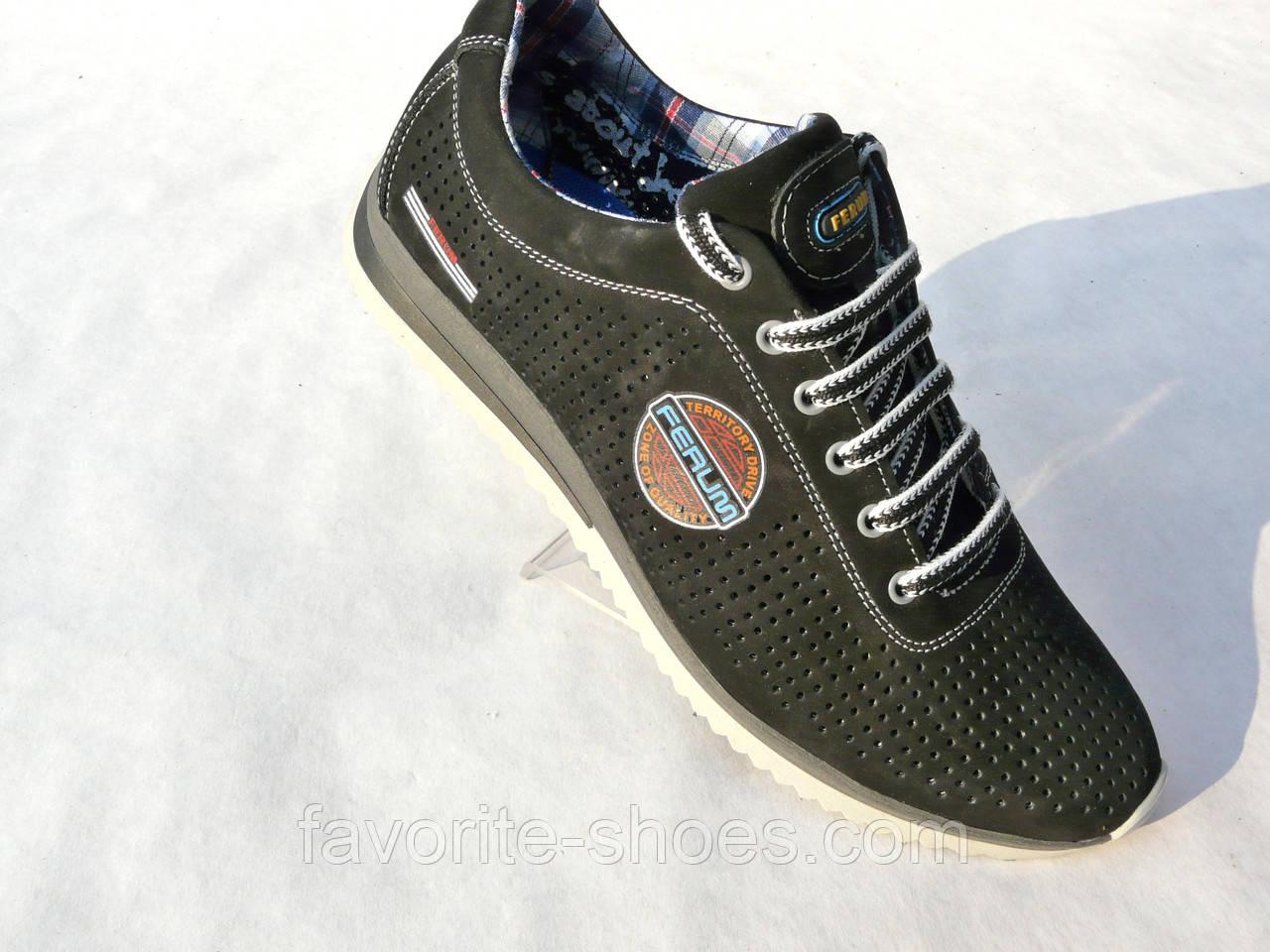 Кожаные мужские кроссовки FERUM перфорация ч.