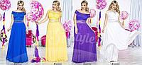 Вечернее платье Масло+шифон+атлас+гипюр Длина платья-146см фото реал асич № 15055