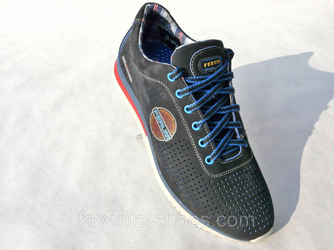 Кожаные мужские кроссовки FERUM перфорация син.