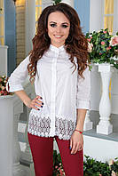 """Нарядная женская блуза-рубашка прямого кроя """"Nanna"""" с кружевом (3 цвета)"""