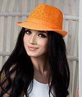 Шляпа соломенная с лентой оранжевая