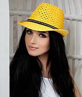 Шляпа соломенная  ремешком