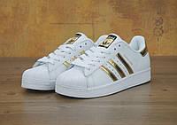 Кроссовки женские Adidas Superstar 30427 White Gold