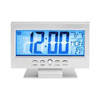Настольные часы с термометром 8082: будильник, подсветка LED дисплея, 2хАА, 145х90х25 мм