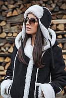 Женская шапка-шлем (ушанка): замша, дублированная на овчине (разные цвета)