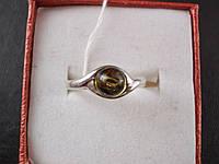 Кольцо 100% натуральный зеленый янтарь-Круглый 6 мм-17.5р-925 проба-Польша