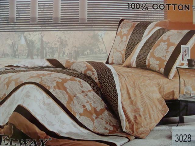 Сатиновое постельное белье полуторное ELWAY 3028