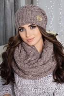 Комплект шапка+ шарф-снуд объемной вязки ( 9 цветов )
