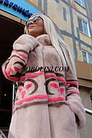 Новинка 2017!  Очень красивая шуба из скандинавской норки с узорным цветным принтом в этническом стиле