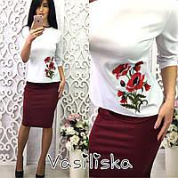 Костюм кофта с вышивкой и юбка карандаш трикотаж разные цвета KV399