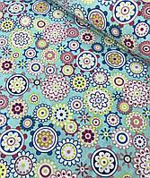 Хлопковая ткань польская цветы в кружочках на голубом