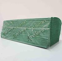 Полотенца листовые однослойные, V-укладка, зеленые, Макулатура, 170 шт