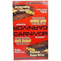 """MuscleMeds, """"Плотояд"""", белковые батончики из мягкого печенья со вкусом шоколадно-арахисовой пасты, 12 белковых батончиков по 3,2 унции (91 г)"""