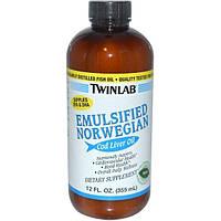 Twinlab, Эмульгированное масло из печени норвежской трески, мятный вкус, 12 жидких унций (355 мл)