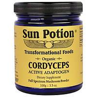 Sun Potion, Cordyceps Порошок из Натуральных Грибов, Органический, 3,5 унции (100 г)