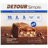 Detour, Simple, Батончики  с Сывороточным Белком, Карамель с Шоколадной Крошкой, 9 батончиков по 1,1 унции (30 г) каждый