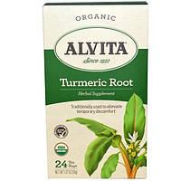 Alvita Teas, Turmeric Root, Organic, Caffeine Free, 24 Tea Bags, 1.27 oz (36 g)