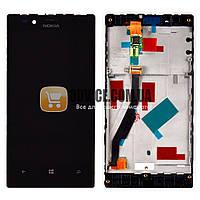 Дисплей Nokia 720 Lumia с тачскрином в сборе, с рамкой, цвет черный, маленькая микросхема ЛУЧШАЯ ЦЕНА + ПОДАРОК