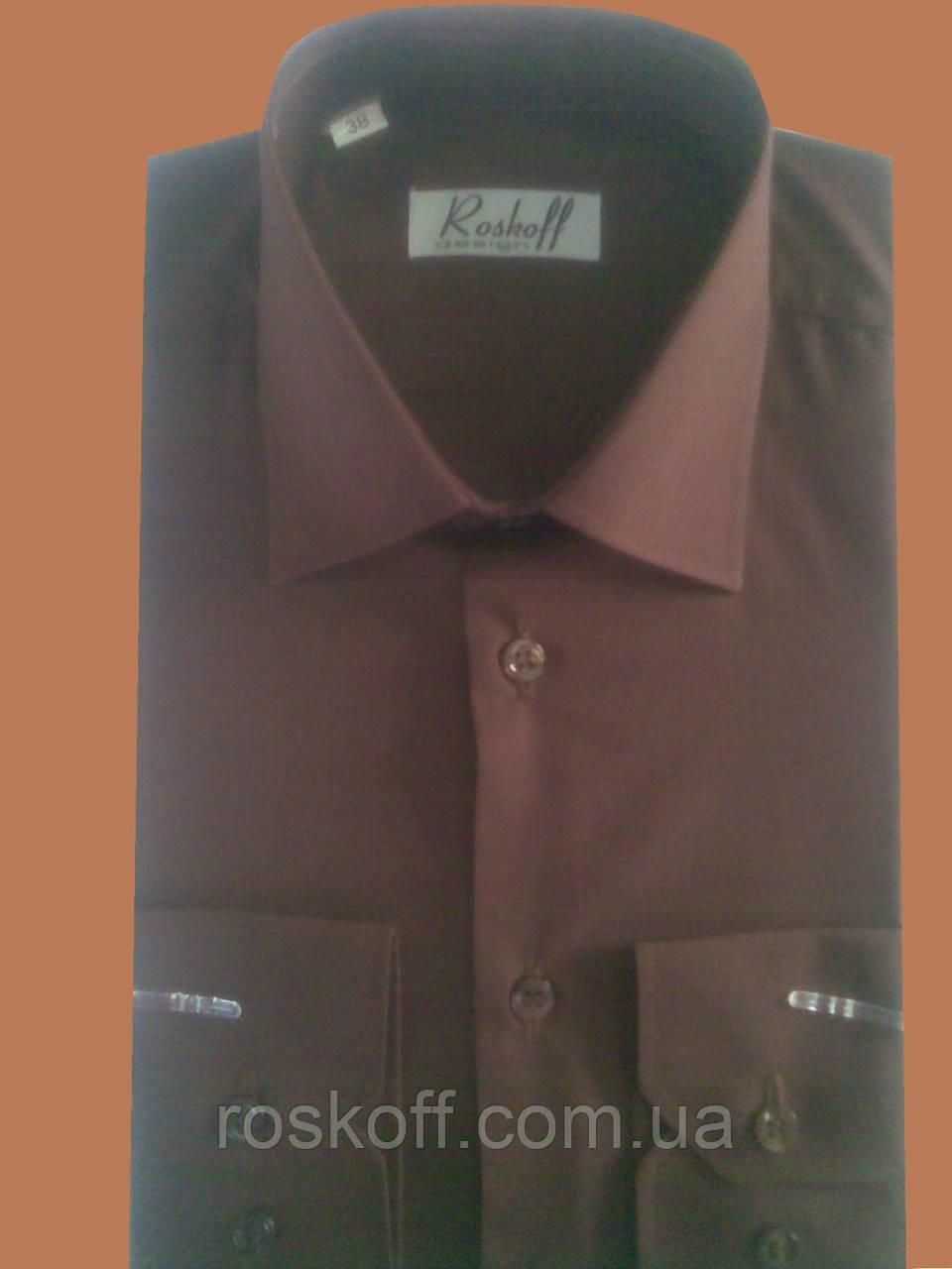 Рубашка с длинным рукавом коричневая