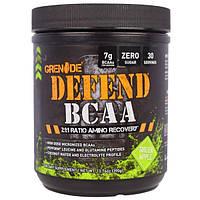 """Grenade, """"Защита BCAA"""", комплекс аминокислот с разветвленными боковыми цепями (BCAA), со вкусом зеленого яблока, 13,76 унций (390 г)"""